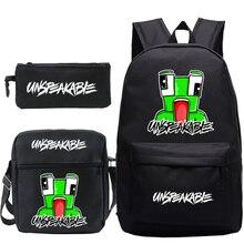 Mochila 3 Pcs Set UNSPEAKABLE Merch School Backpacks Children Cartoon Game School Bags Laptop/Travel