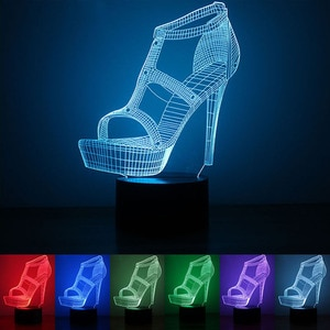 3D Night Light USB Powered High-heeled Shoes LED Desk Lamp Touch Key Decoration Light Use Home Hotel Party Holiday