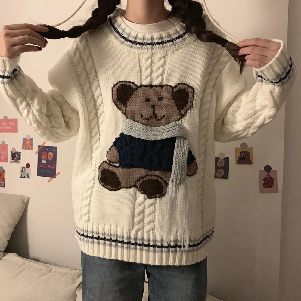 Bufanda tridimensional hecha a mano 3D oso Universidad tejer cuello redondo manga larga suéteres feos Navidad mujeres pull femme