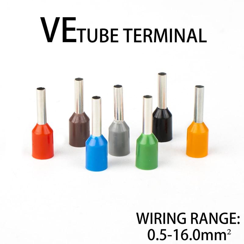 Terminales eléctricos tipo tubo de cable, Conector de cable eléctrico prensado en...