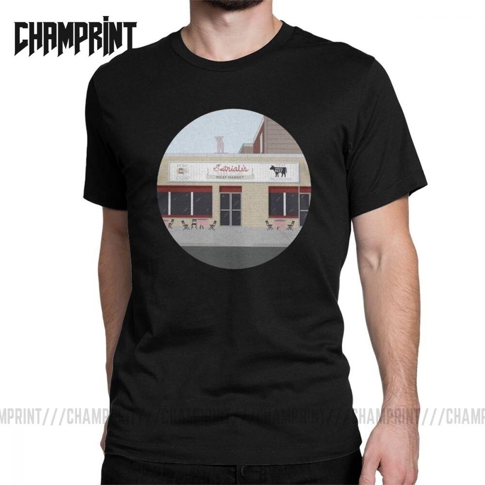 Satriale sopranos t-shirts homem crime drama série tv bada bing tony puro algodão t camisa de manga curta t camisa presente idéia topos