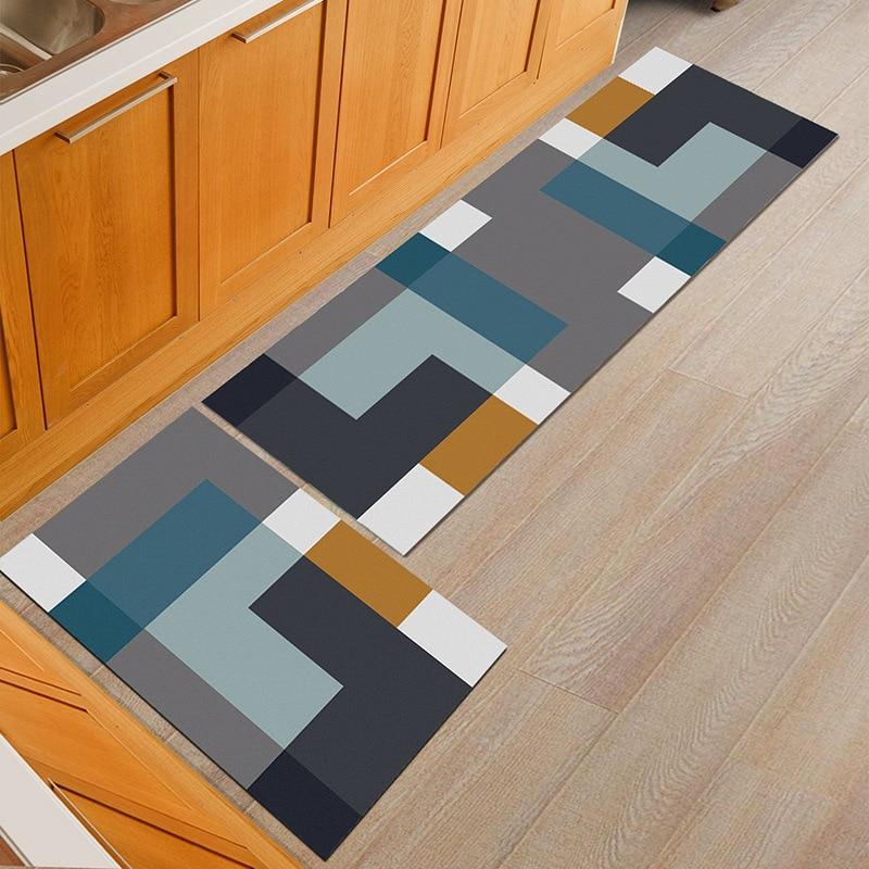 Non-slip Modern Grid Home Kitchen Mat Pad Dining Room Table Black Floor Carpet Outdoor Hallway Porch Corridor Area Rug