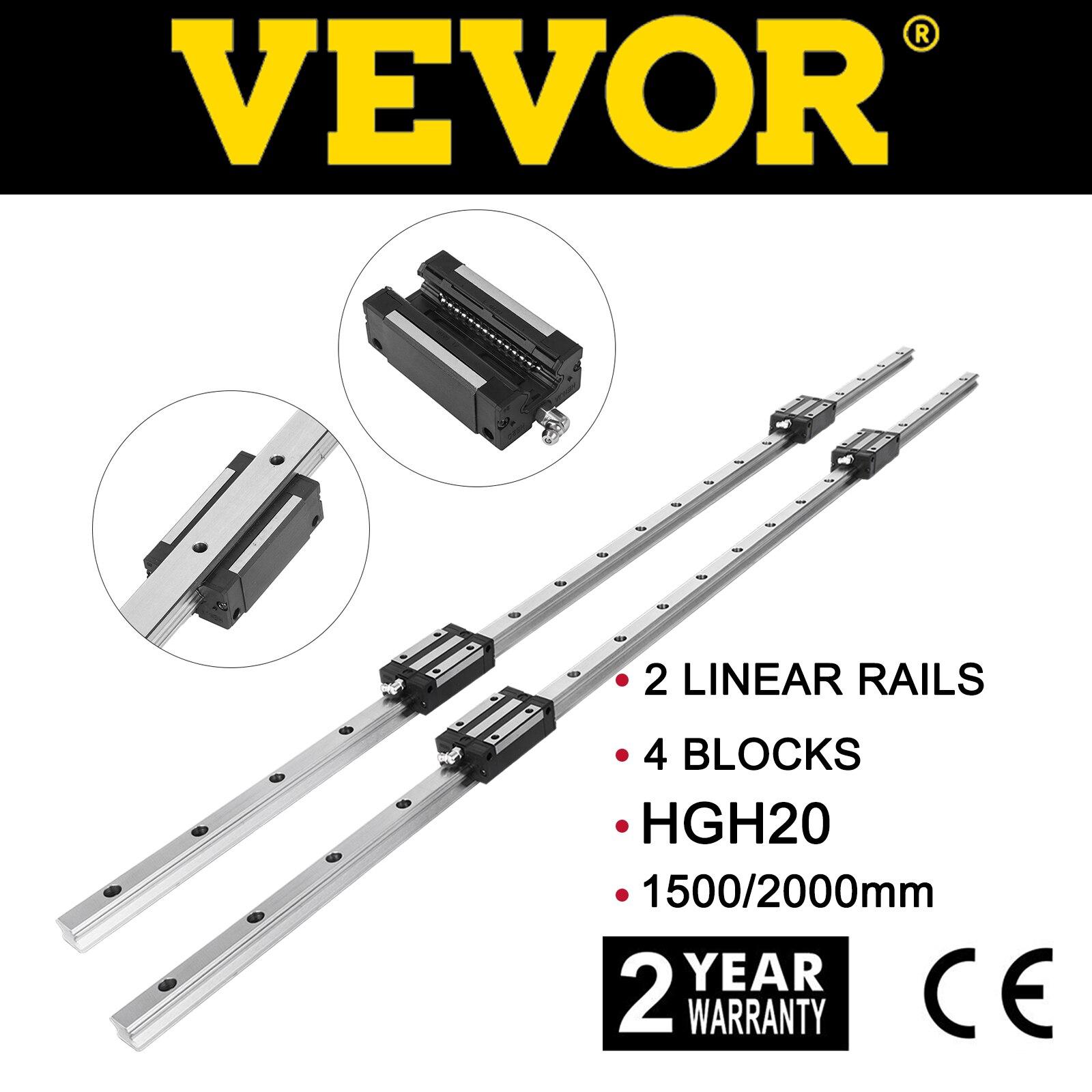 VEVOR 2 قطعة HGH20 دليل خطي السكك الحديدية رمح قضيب عدة طول 1200 مللي متر 1500 مللي متر 4x نك راوتر ميكانيكية تحمل كتلة السلس انزلاق