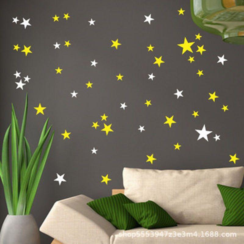 Nuevo 45 piezas de dibujos animados estrellado pegatinas de pared para habitaciones de niños casa decoración estrellas tatuajes de pared de bebé de vinilo DIY arte Mural