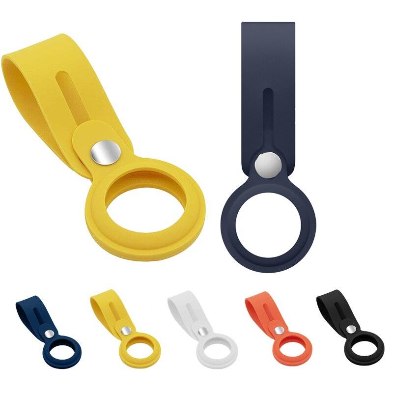 Мягкий защитный чехол из жидкого силикона для Airtag, чехол для брелока, устройство против потери, чехол-петля для трекера, чехол для airтеги чехол
