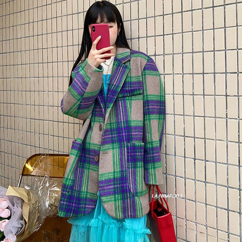 المرأة منقوشة السترة الربيع الخريف واحدة الصدر ضئيلة رداء غير رسمية سترة ملابس خارجية الإناث أنيقة الكورية معطف Vintage
