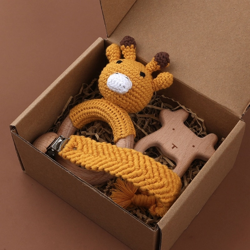 3PCS Handmade Crochet Animal Teether Baby Beech Wood Teething Ring Pacifier Chain Clips Infant Gym Music Rattle Toy Shower Gift