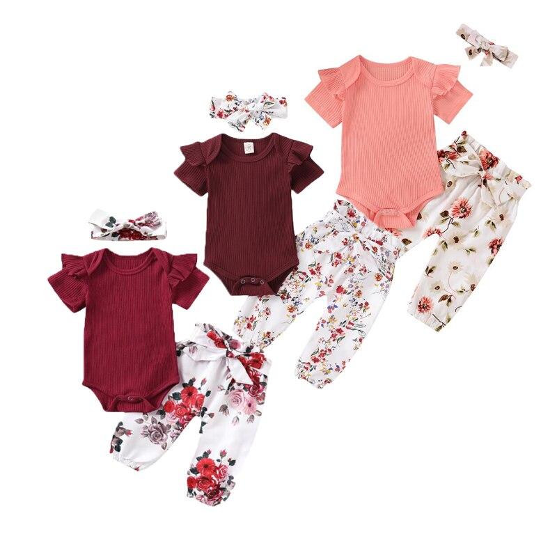 Conjunto de roupas de impressão do bebê 3 pçs conjunto verão manga completa infantil bebê menina roupas macacão topo flor calças bandana outfit 0-18 meses
