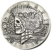 Hobo de EE. UU. 1922/1922 dos caras paz dólar cráneo zombi esqueleto plateado copia monedas