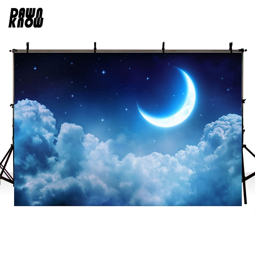 DAWNKNOW Crescent Moon Vinyl Photography Background For Baby Night Sky Photo Shoot Backdrop For Wedding  Photo Studio G705