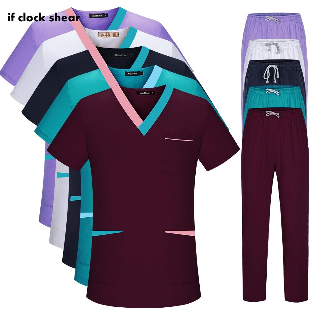 Униформа для сотрудниц спа-салонов с V-образным вырезом, оптовые цены, костюмы с коротким рукавом, Топы + штаны, рабочая одежда для здоровья, к...
