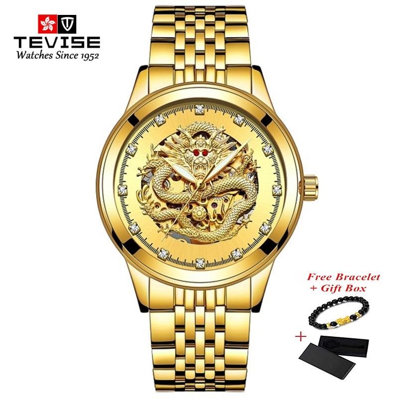 TEVISE Gold Dragon Automatic Self-Wind Steel Men Watch Waterproof Mechanical Men's Wristwatches Lumi