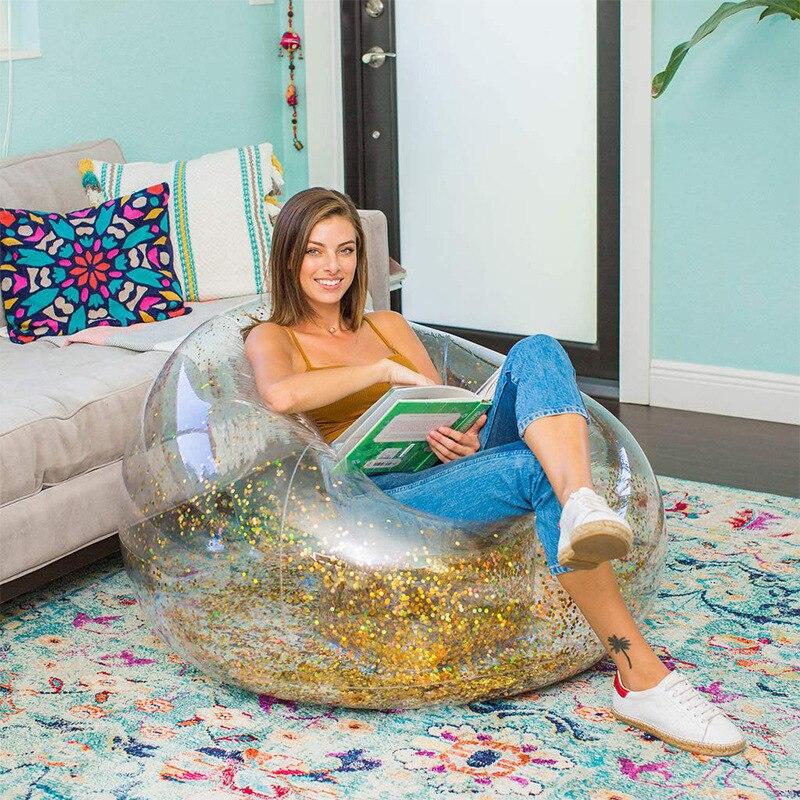 Надувной диван из ПВХ с пайетками, одиночный ленивый Портативный Отдых на открытом воздухе, креативный отдых, балкон, ленивый диван, шезлонг...