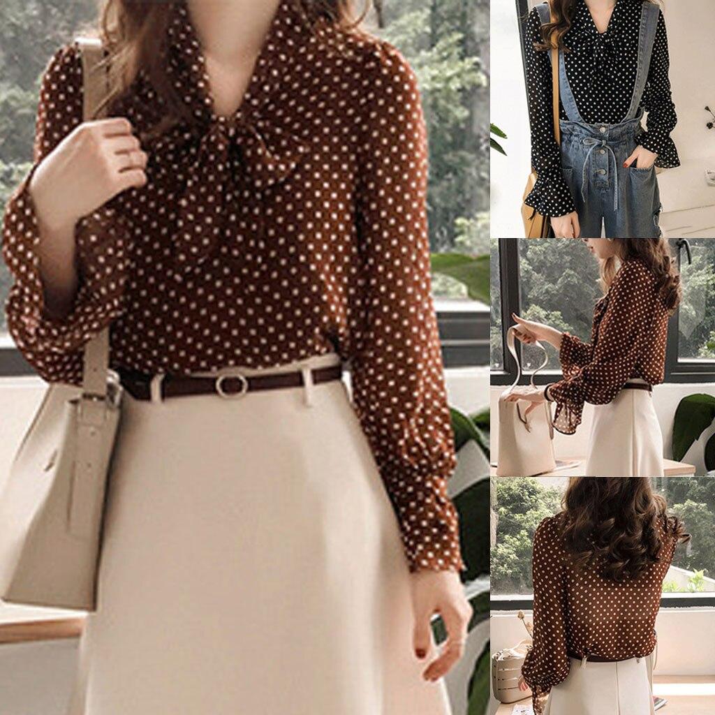 Mode Frauen blusen Chiffon Langarm Polka Dot V-ausschnitt Casual Tops Fliege Bluse shirt Blusas mujer de moda 2019 w10