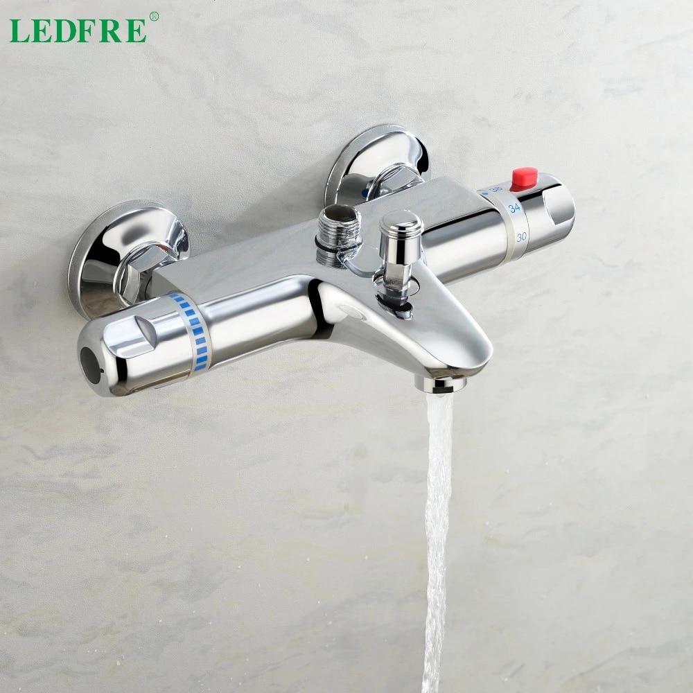 LEDFRE Thermostatic Water Shower Bath Mixer Bathtub Faucet Temperature Control Bathroom Product  Accessories LF56T250