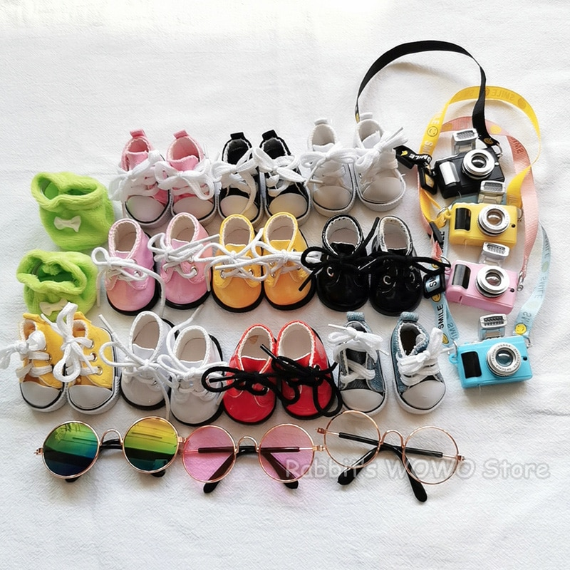 Mini Plush Doll Accessories for 20cm Korea Kpop EXO Idol Plush Dolls Canvas Shoes Leather Shoes Glas