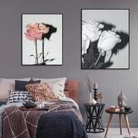 Toile de peinture de fleurs Vintage  style nordique  Rose  blanc  Rose  affiche murale  photos de mode  decoration de chambre a coucher scandinave  maison