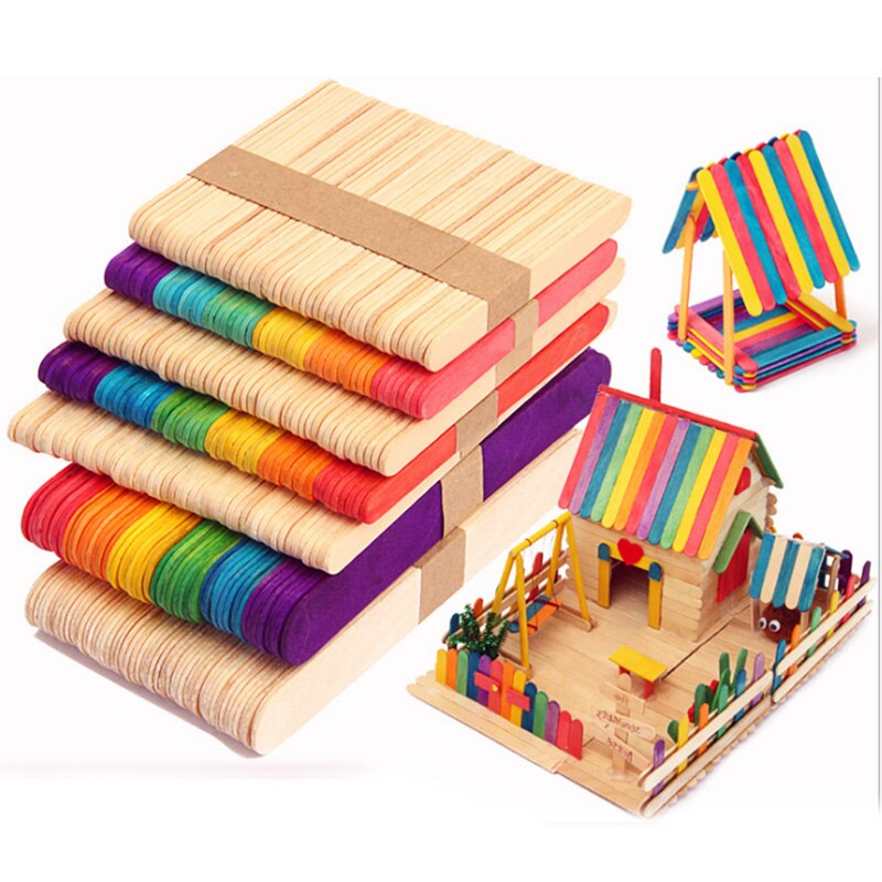 50 unids/lote de palitos de madera para helados, palitos de paletas, herramientas para tartas de madera Natural, manualidades artísticas de juguete para niños