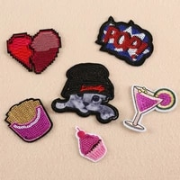 50pcslot sequins embroidery patches letters ice cream fries cat clothing decoration accessories diy iron heat transfer applique