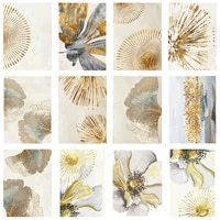golden ginkgo flower painting abstract wall art canvas modular hd posters and prints picture for home decoration modern interior