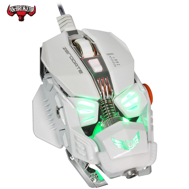 Ratón de juegos por cable de Grado Profesional, 4000DPI, programa ajustable, ratón de Gamer USB, luz de fondo LED, sensor óptico para ordenador portátil