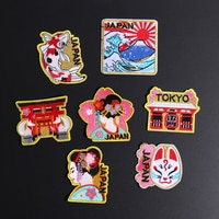 Japaneses Geisha Embroidered Patches For Clothing Japanese Female Dancer DIY Mask Cat Mount Fuji Fish Decoration