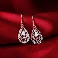 925 sterling silver water drop shaped drop earrings for women lady wedding engagement party fashion jewelry jlfdjal