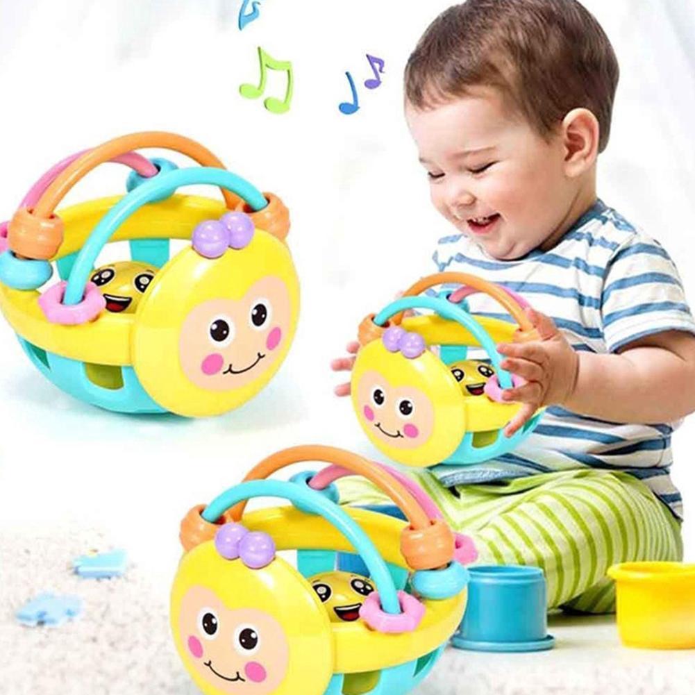 Juguete de dentición educativo con forma de bola de sonajero para bebé de colores suaves de abeja de dibujos animados, regalos de cumpleaños