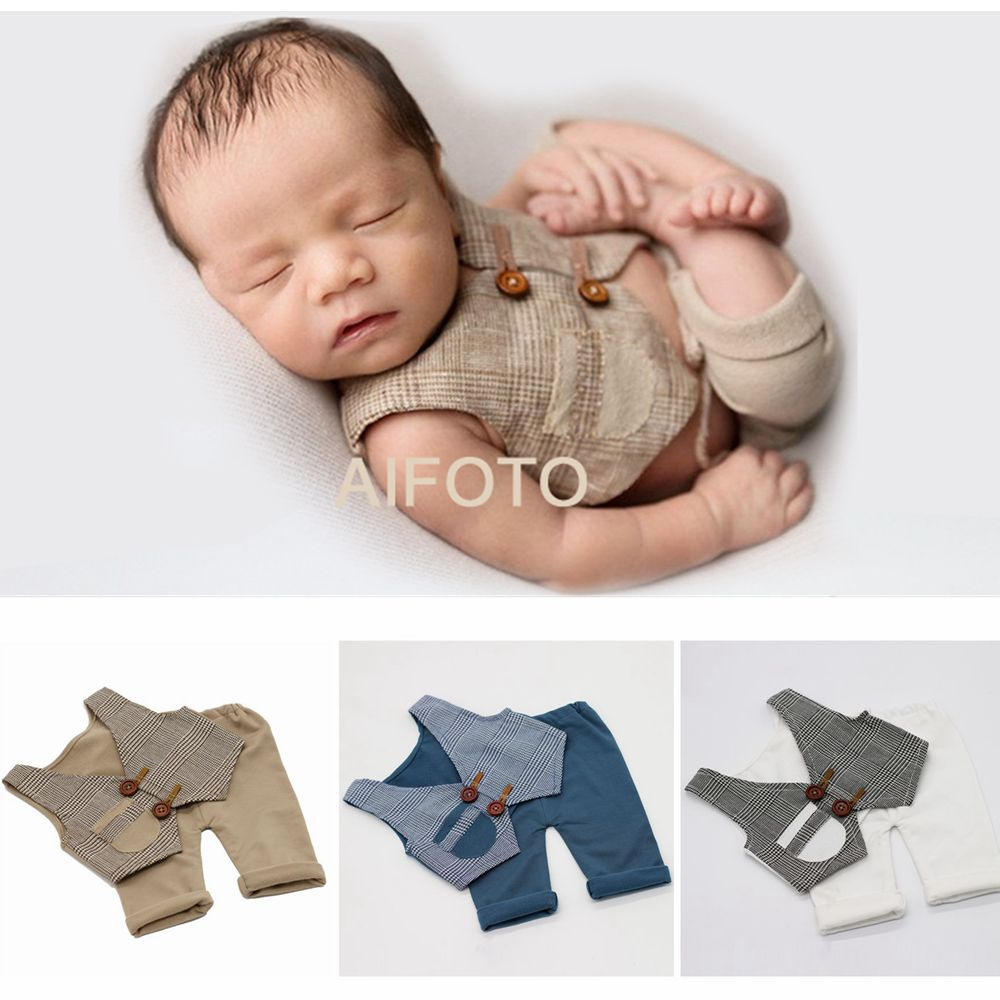 2020 New Born Roupas Fotografia Adereços Bebê Menino Colete E Calças Compridas Definir Roupas Tiro do Estúdio Da Foto Do Bebê Fotografia Acessórios