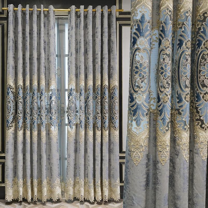 Nórdico personalizado Simple cortina tejidos de chenilla Soluble en agua hueco bordado...