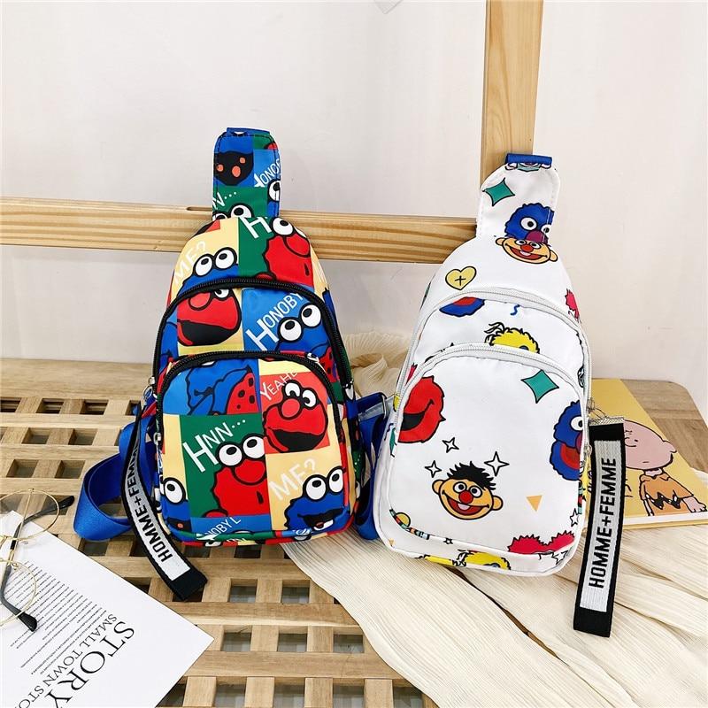 Новинка 2021, сумка через плечо, Корейская мультяшная грудь Улица Сезам, милая сумка-мессенджер, женская сумка, трендовая мини-сумка, кошелек, ...
