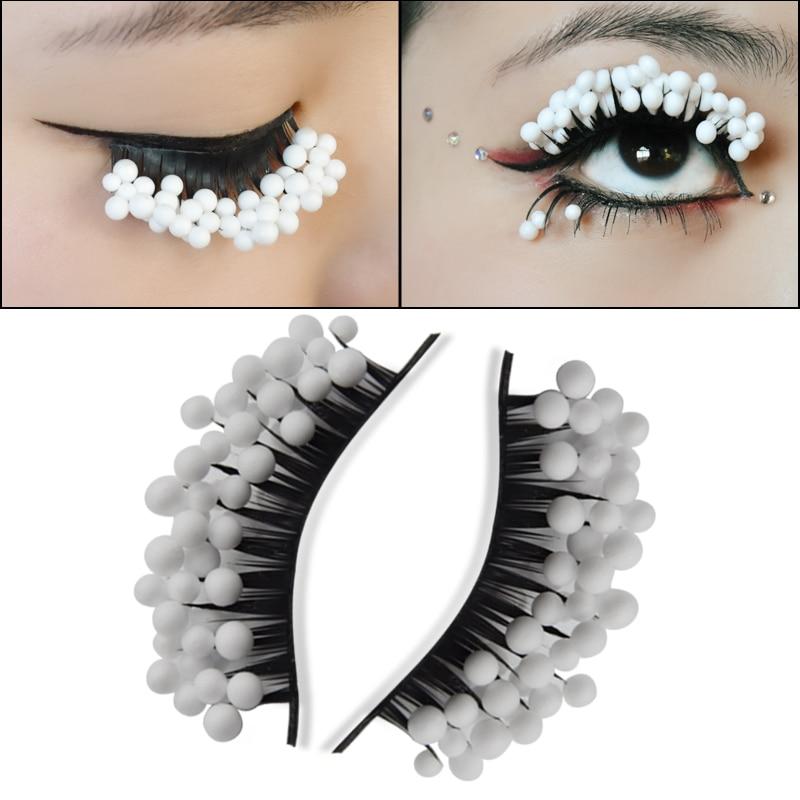 White Snowball False Eyelashes Exaggerate False Eyelashes Artistic Stage Creative Makeup Drama Colorful Makeup Dense False Eyela