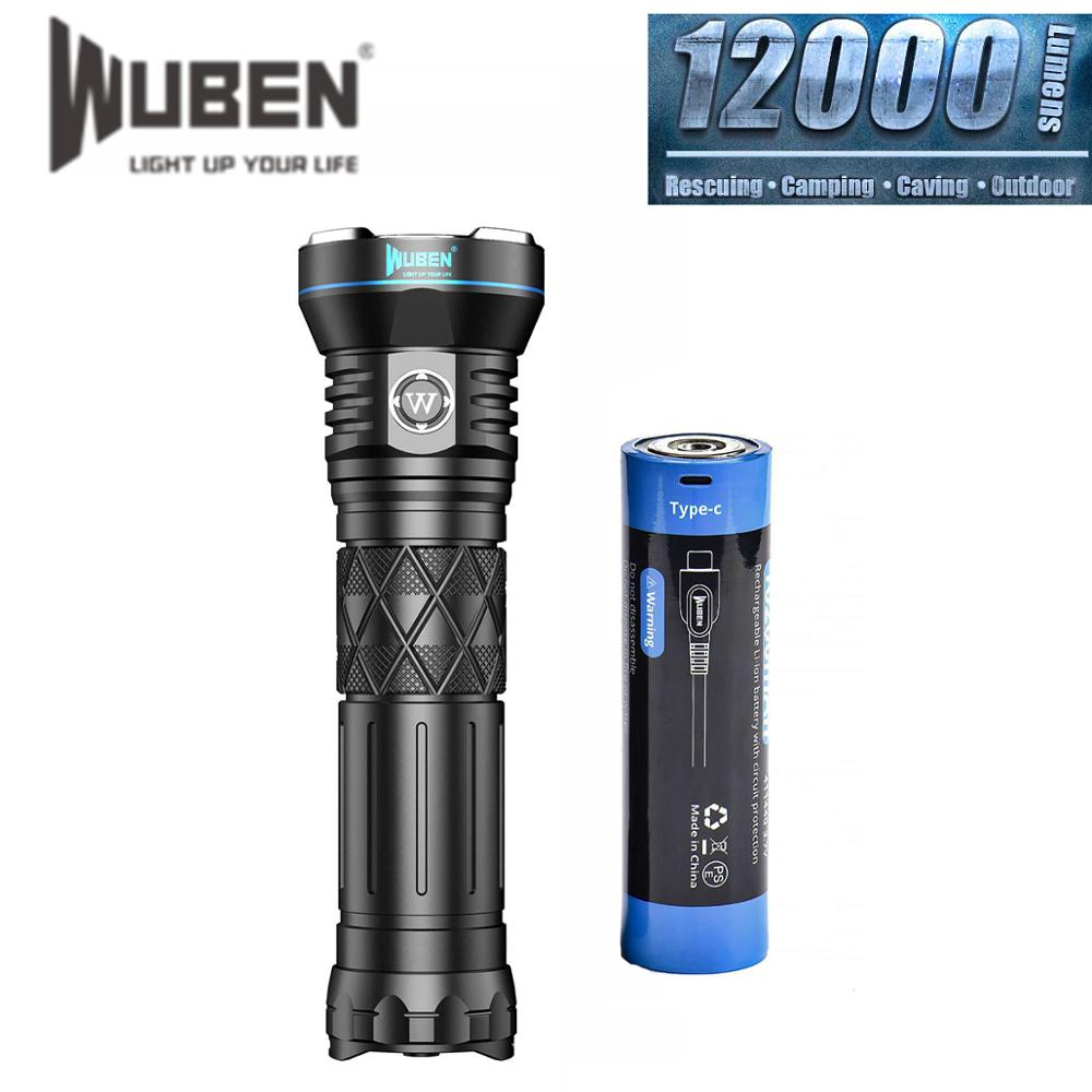 WUBEN A9 12000LM High Power LED Flashlight Type C Rechargeable CREE LED IP68 waterproof Torch with 10200mAh battery For Hunting
