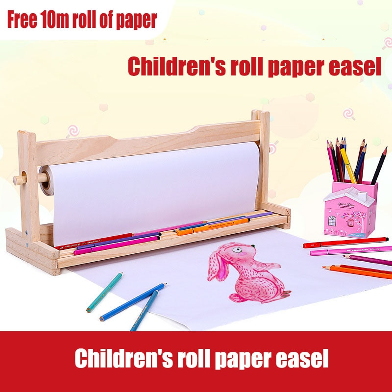 Wooden Children's Easel  Art Painting Gallery Supplies Oil Drawing School Students Roll Paper Easel Baby Sketch Painted Graffiti