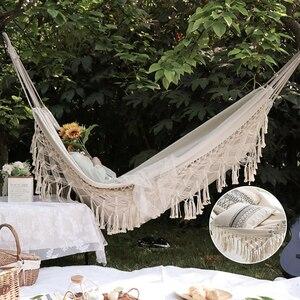 200cm*150cm hammock bohemian style Brazilian lace tassel luxury double hammock mesh chair indoor hanging swing home decoration