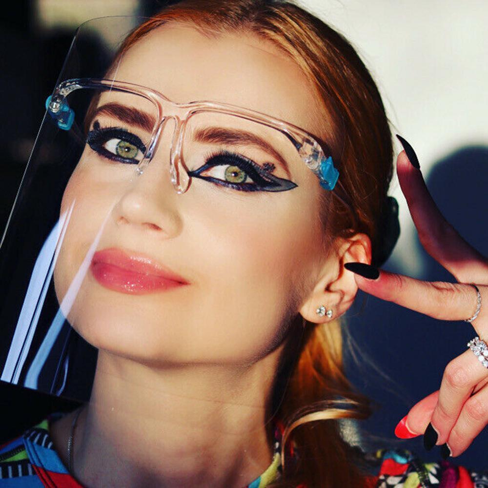 10Pcs Safety Transparent Clear PET Anti-Fog Anti-Saliva Full Face Shield Eyes Face Protective Goggles Glasses Frame Visor Hats
