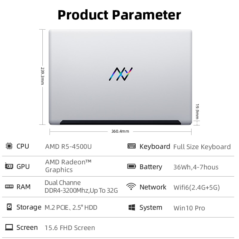 Machenike AMD Ryzen 5 4500U Laptop WiFi 6 Ultrabook 8G 3200MHz 512G SSD 15.6'' FHD Notebook Office Laptop Metal A/D Shell
