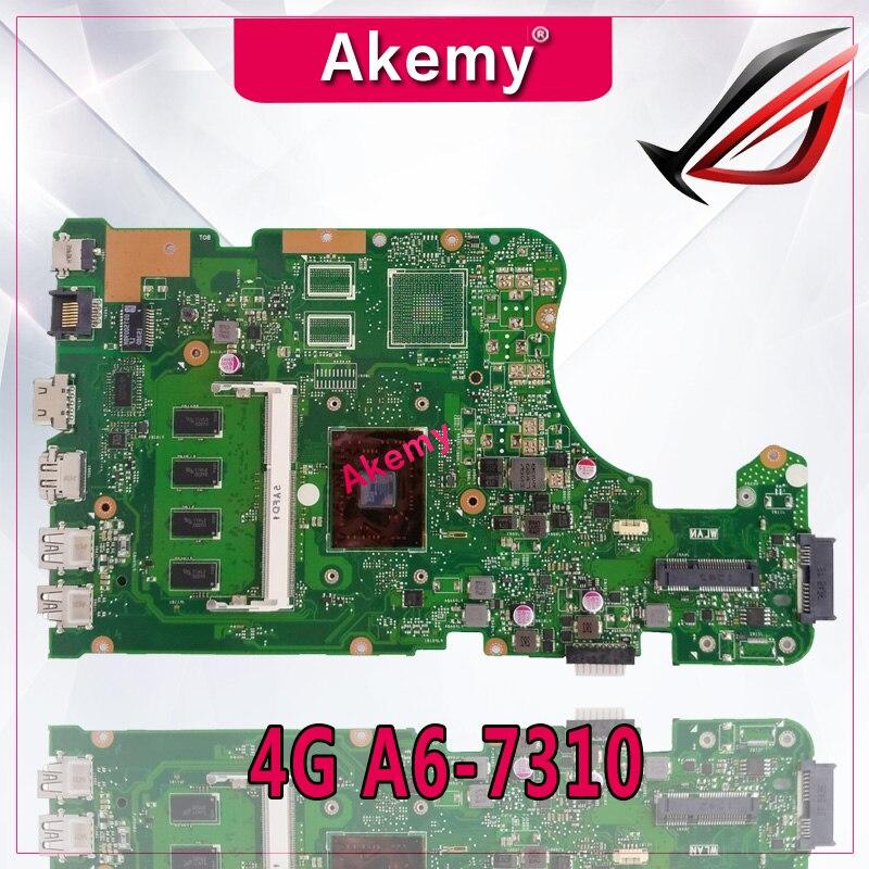 Akemy X555YA اللوحة 4G A6-7310 ل For Asus X555DG X555YA X555Y اللوحة المحمول X555YA اللوحة الرئيسية X555Yi اللوحة اختبار موافق