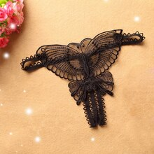 Sexy Women Lace Hollow out Butterfly Shaped G-String Open Crotch Underwear Lingerie Panties 2021 Dro