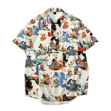 Japanese Style Printing Short-Sleeved Printing Summer Casual Loose Plus Large Size Shirt Men's Hawai