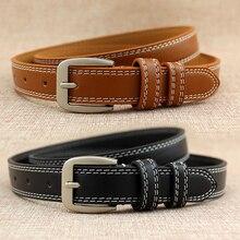 Fashion Ladies Leather Lined Jeans Belt Belt Hollow Lesisure Double Cable Belt For Women Fashion Acc