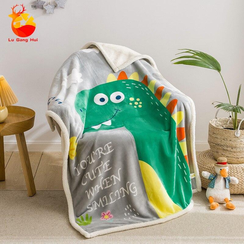 Newborn Children's Lamb Blanket Winter 100% Cotton Boys Girls Swaddle Wrap Infant Kids Stroller Bedding Quilt Accessory