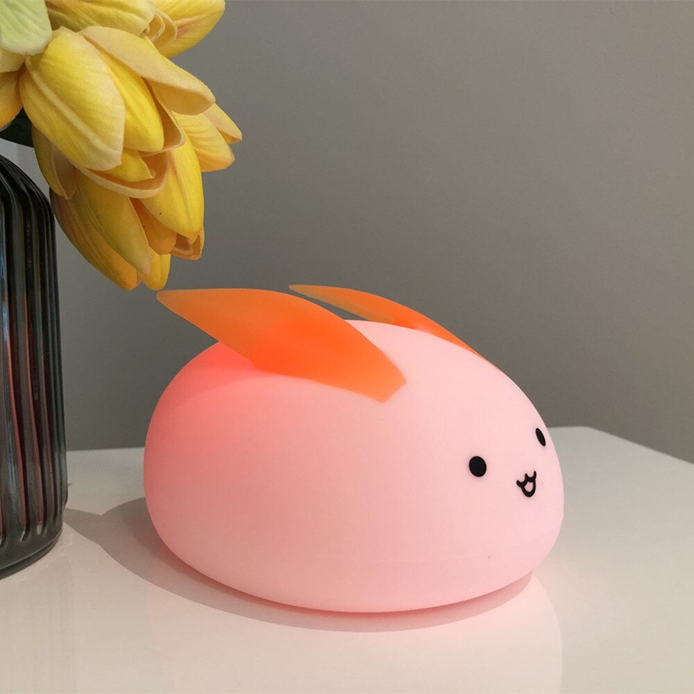 Rabbit LED Night Light Touch Sensor Colorful Battery Powered Bedroom Silicone Bunny Bedside Lamp for Children Baby Gift