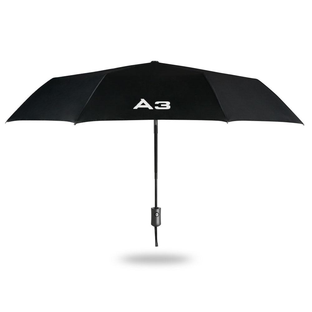 Paraguas plegable compacto y automático para Audi A3 8P S3 8V 8L Sportback e-tron Limousine A3 Logo accesorios de coche