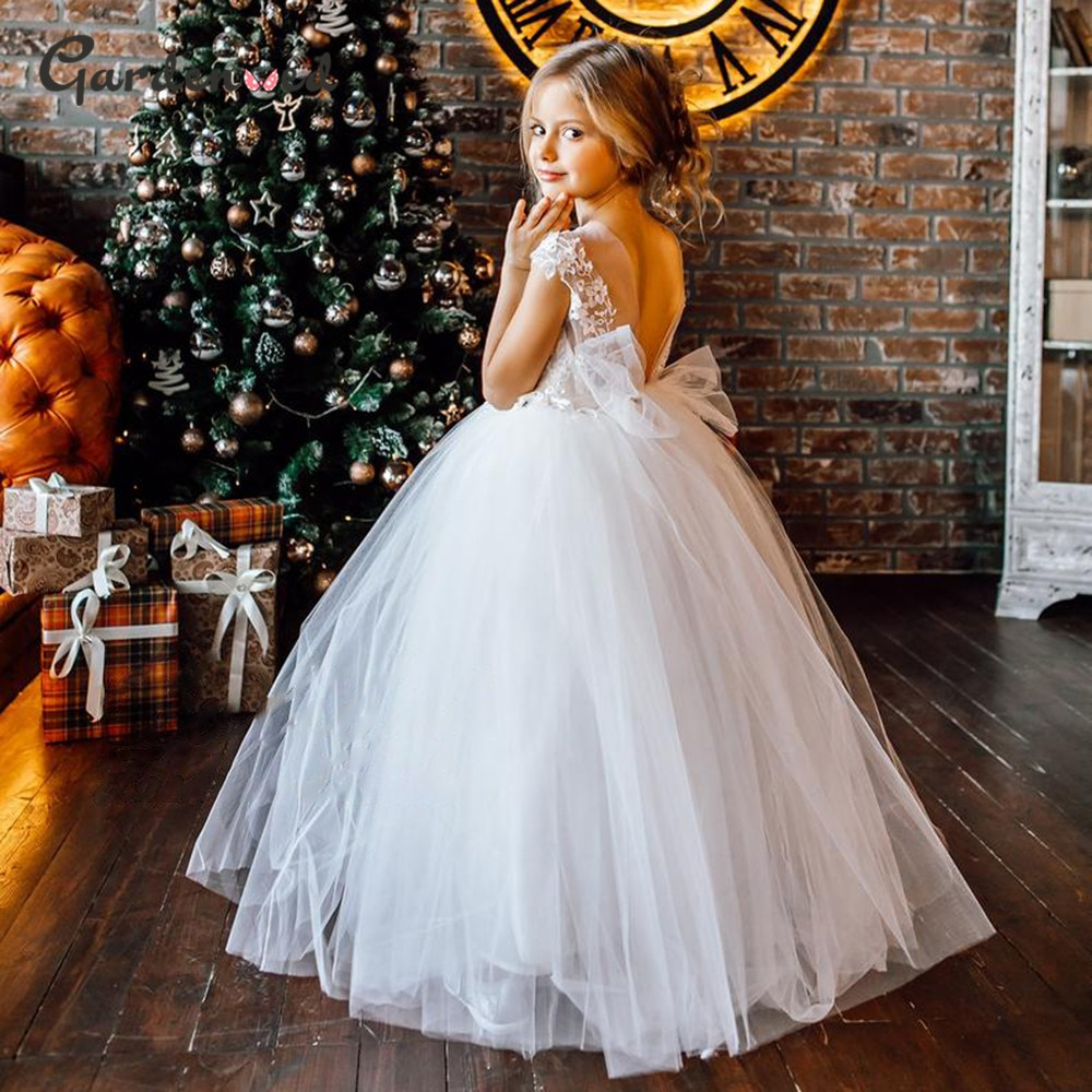 appliques flower girl dresses bow knot v neck kids pageant dress evening for party birthday hollow out princess dress b29 Puffy Flower Girl Dresses 2020 Lace Appliques Princess Dress Tulle Kids Communion Dresses Bow Net Girl Birthday Party Dress