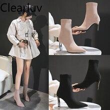 Pointed Fashion Sexy Women skarpety buty na drutach elastyczne buty wysokie obcasy dla kobiet moda buty nowe kobiety kostki botki