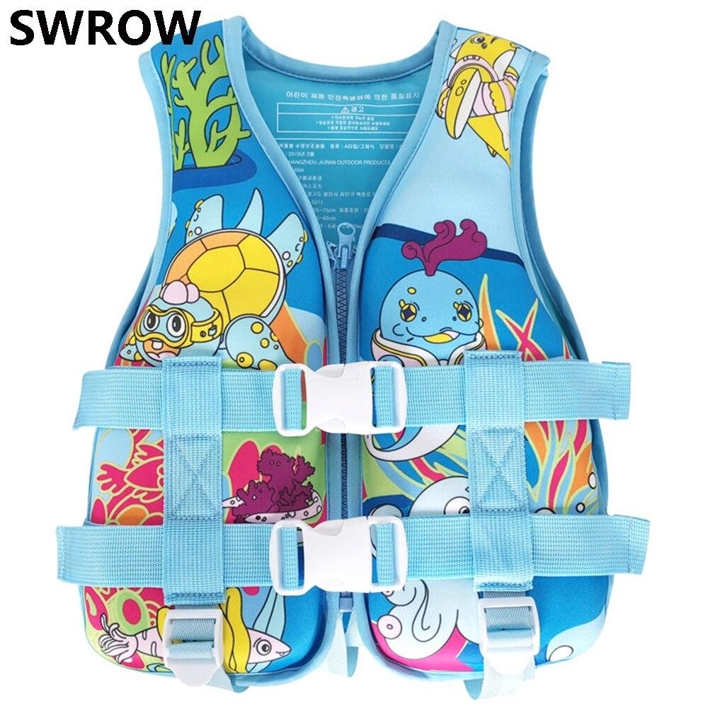 Спасательные жилеты детские с мультяшным рисунком, неопреновые, для мальчиков и девочек, водные виды спорта, летние купальники, спасательны...