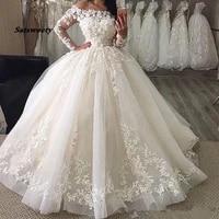 long sleeves vestido de noiva 2021 muslim wedding dresses bateau ball gown boat neck tulle lace boho dubai arabic bridal gown