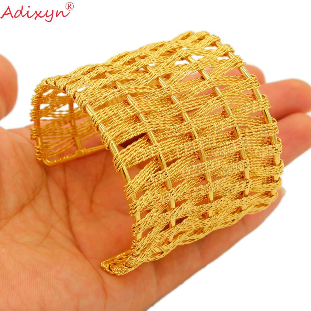 Adixyn-سوار هندي كبير وعريض عيار 24 قيراط للنساء ، أساور ذهبية اللون ، هدايا الزفاف العربية والأفريقية ، N10166