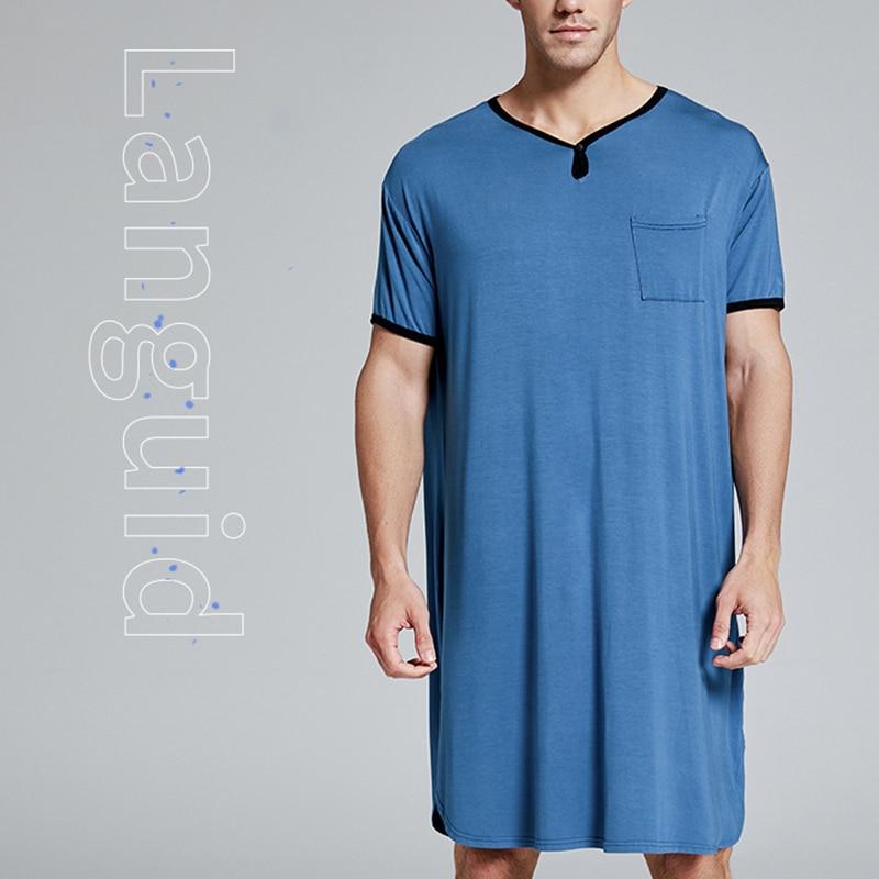 Мужчины хлопок ночная рубашка короткие рукав мягкие свободные пижамы удобные мужские пижамы мужские домашняя одежда пижамы дропшиппинг